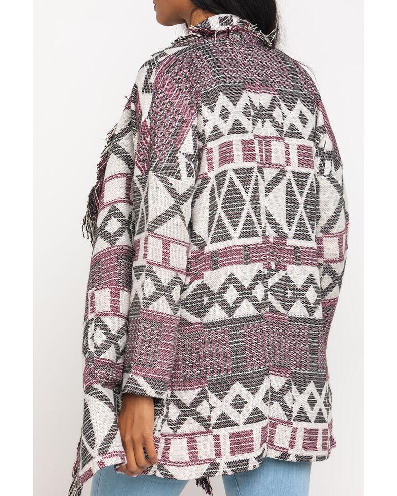 Shyanne Women's Purple Aztec Fringe Coat, Purple, hi-res
