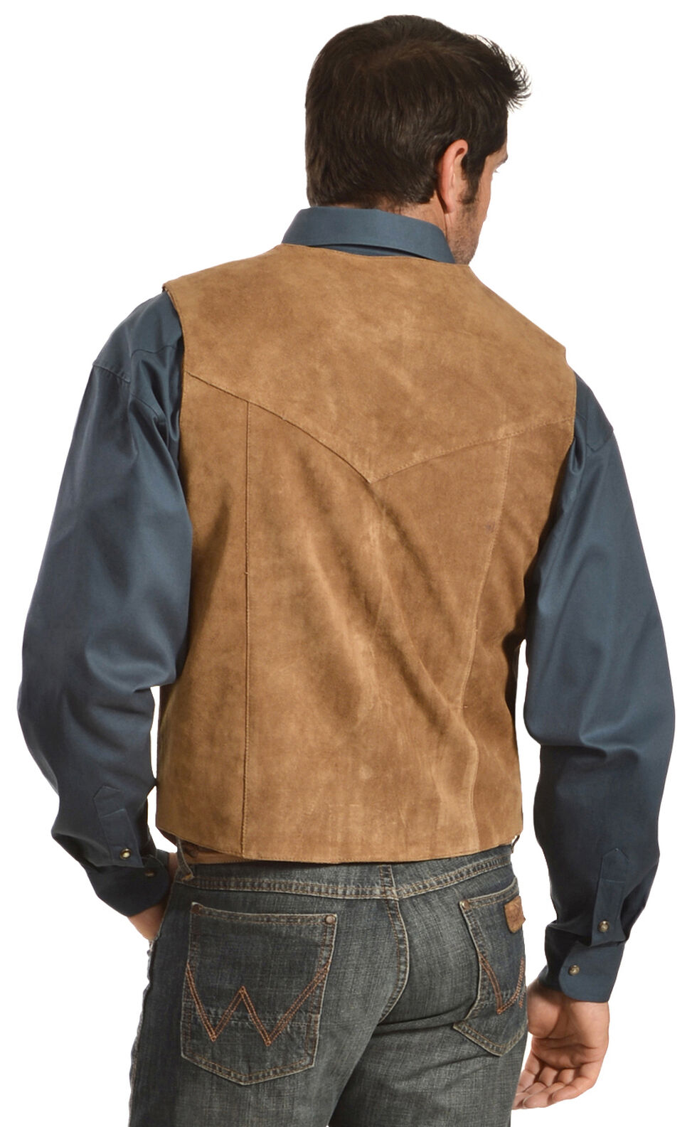 Liberty Wear Men's Suede Western Vest - Big, Brown, hi-res