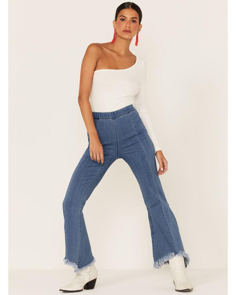 Cello Women's Light Wash Raw Edge High Rise Crop Flare Jeans , Blue, hi-res