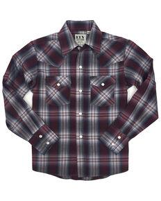 Ely Walker Toddler Boys' Assorted Plaid Long Sleeve Western Shirt , Burgundy, hi-res