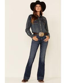 Wrangler Women's Sara Dark Wash High Rise Bootcut Jeans, Blue, hi-res