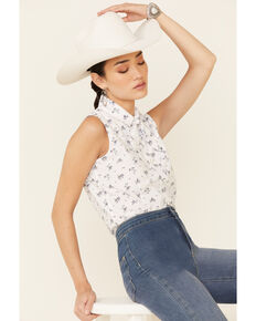 Rock & Roll Denim Women's White Floral Print Neck Tie Sleeveless Snap Western Shirt , White, hi-res