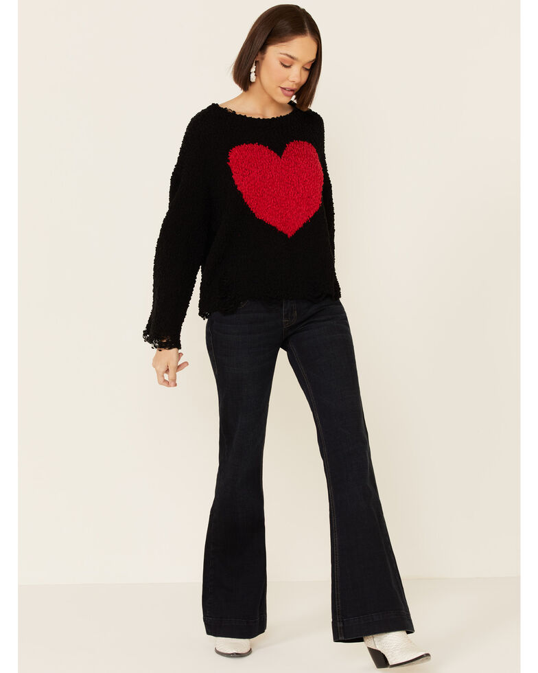 POL Women's Heart Popcorn Chenille Boxy Sweater, Black, hi-res
