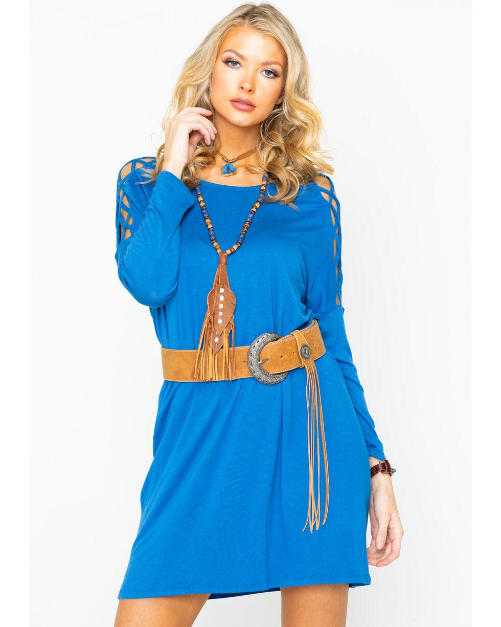 Panhandle Women's Blue Frisscross Sleeve Inset Dress, Blue, hi-res