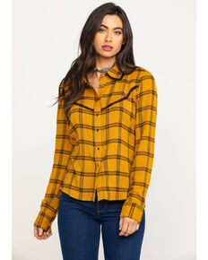 Shyanne Women's Mustard Ruffle Plaid Shirt , Dark Yellow, hi-res