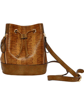 Wear N.E. Wear Women's Brown Drawstring Snakeskin Shoulder Bag, Brown, hi-res