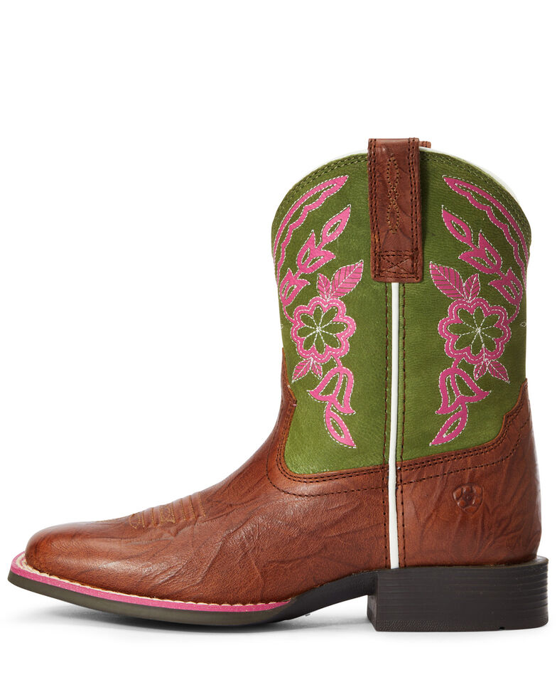 Ariat Girls' Cattle Cate Western Boots - Wide Square Toe, Brown, hi-res