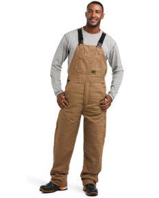 Ariat Rebar Men's Black Duracanvas Stretch Insulated Work Bib Overalls , Beige/khaki, hi-res