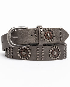 Shyanne Women's Floral Studded Pewter Belt, Silver, hi-res
