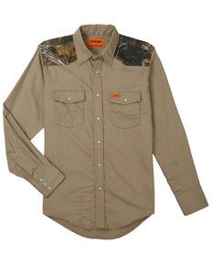 Wrangler FR Men's Camo Yoke Basic Long Sleeve Snap Work Shirt - Big & Tall , Camouflage, hi-res