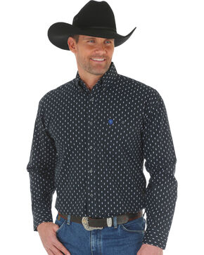 George Strait by Wrangler Men's Printed Poplin Long Sleeve Western Shirt , White, hi-res