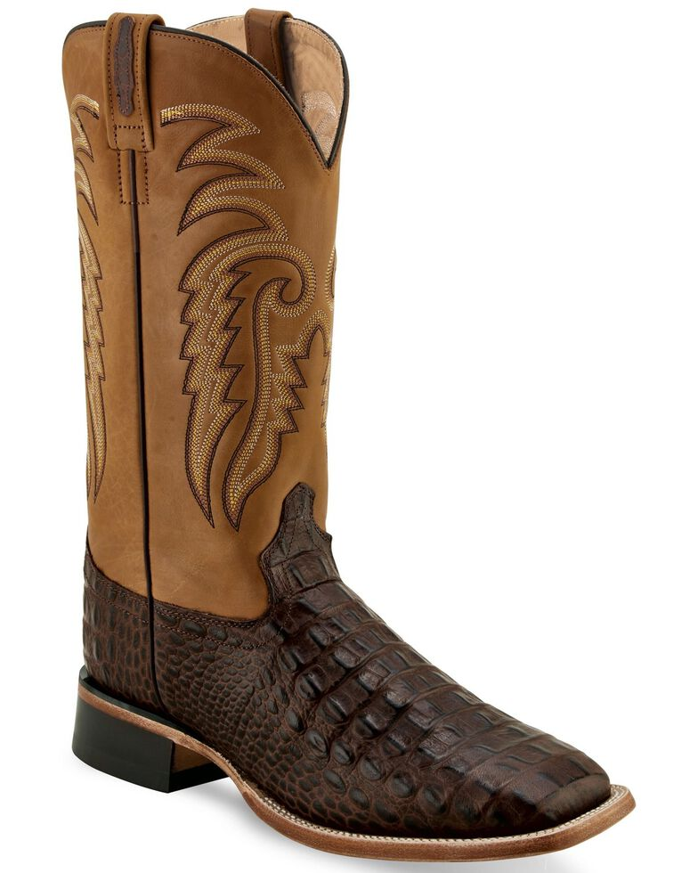 Old West Men's Faux Croc Leather Western Boots - Wide Square Toe, Brown, hi-res