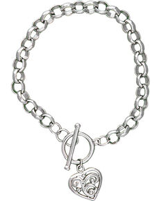 Montana Silversmiths Swept Away Heart Charm Bracelet, Silver, hi-res