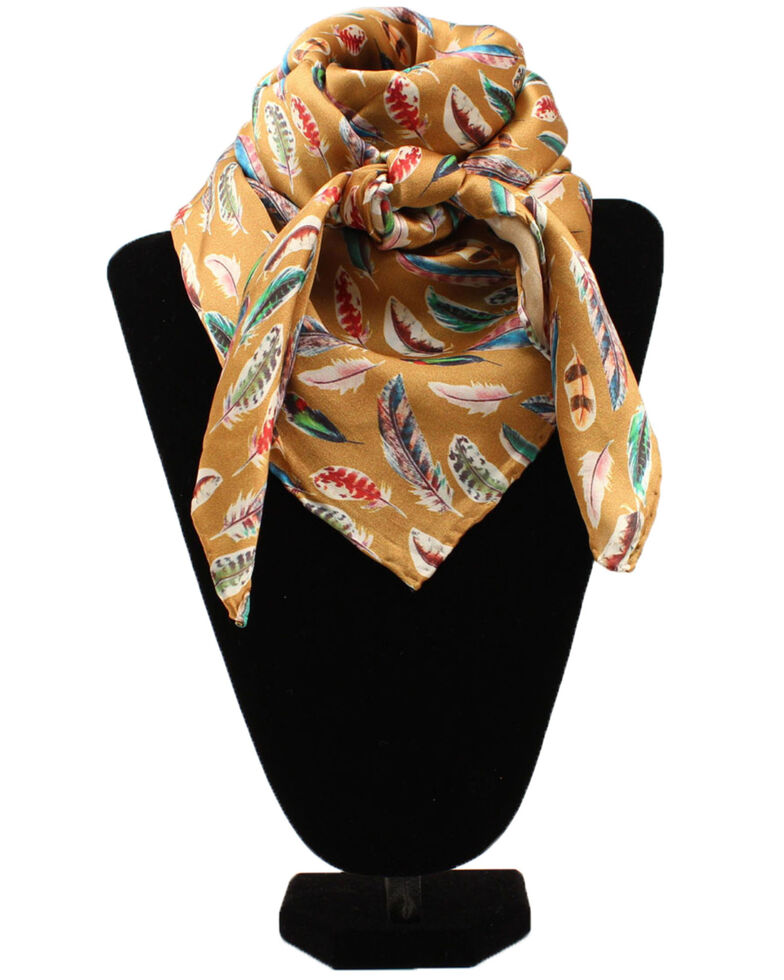 M&F Western Women's Gold Feather Scarf, Gold, hi-res