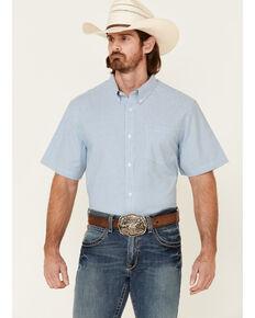 Cody James Core Men's Zion Dobby Stripe Short Sleeve Button-Down Western Shirt - Tall, Blue, hi-res