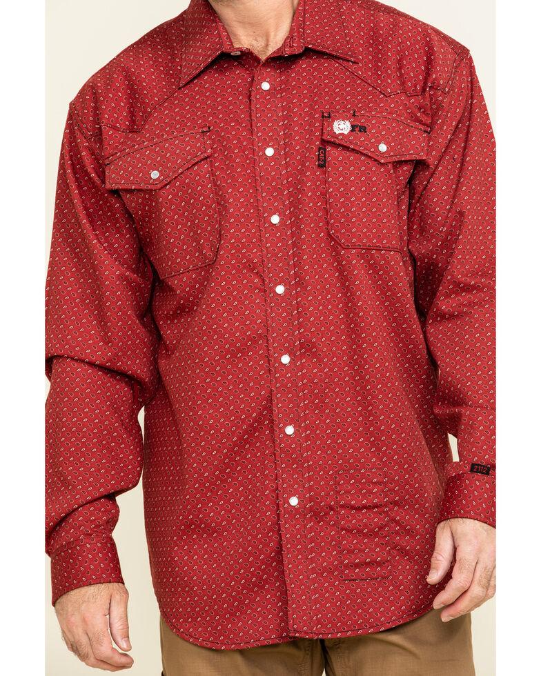 Cinch Men's FR Red Geo Print Long Sleeve Work Shirt , Red, hi-res