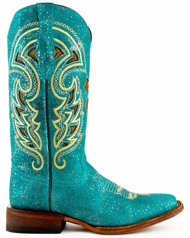 Ferrini Women's Turquoise Shimmer Western Boots - Wide Square Toe, Turquoise, hi-res