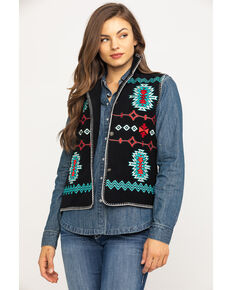 Outback Trading Co. Women's Aztec Embroidered Fleece Vest, Black, hi-res