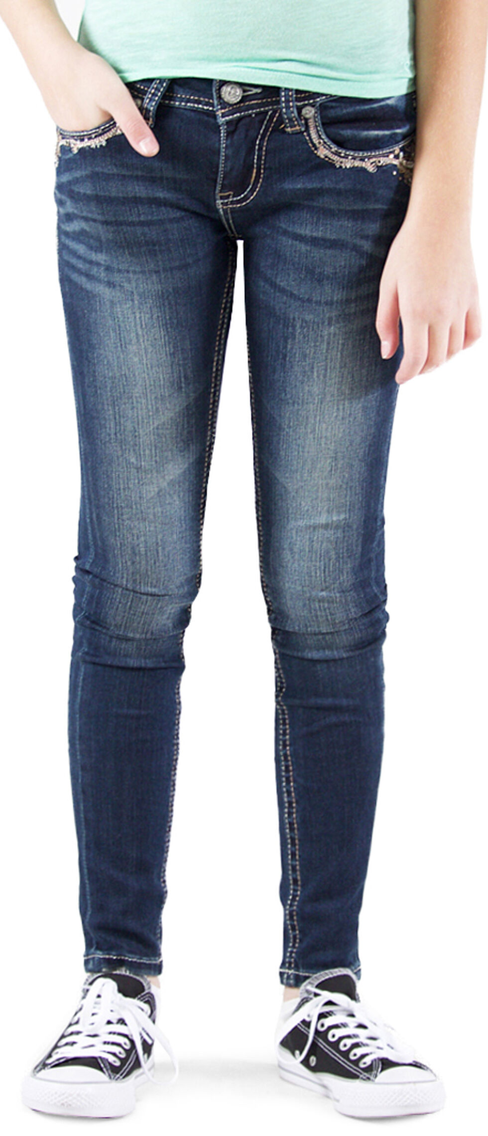 Grace in LA Girls' Dark Wash Embellished Skinny Jeans , Indigo, hi-res