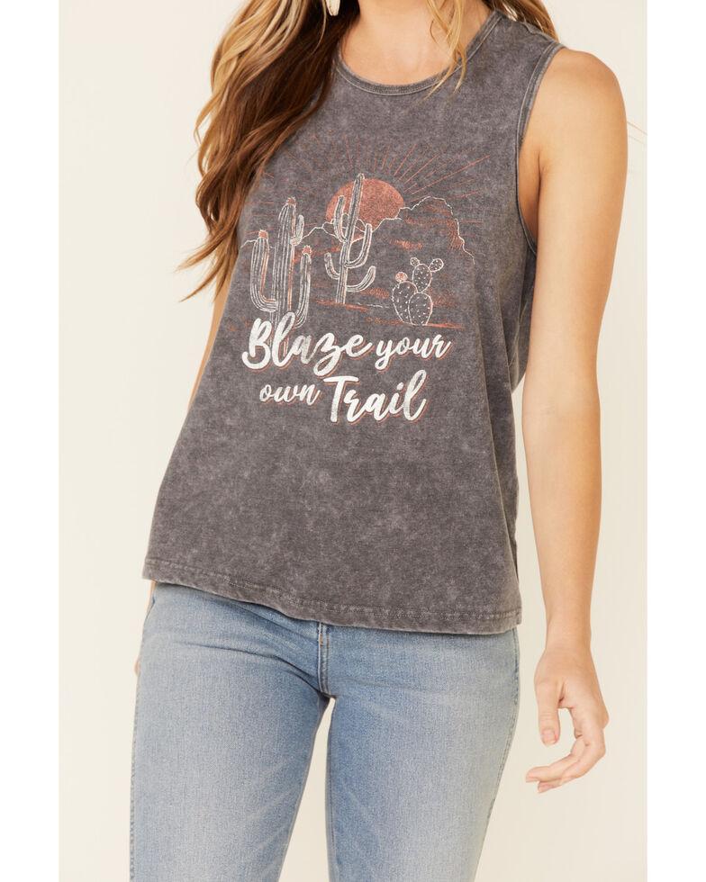 Cut & Paste Women's Blaze Your Own Trail Graphic Tank Top , Charcoal, hi-res