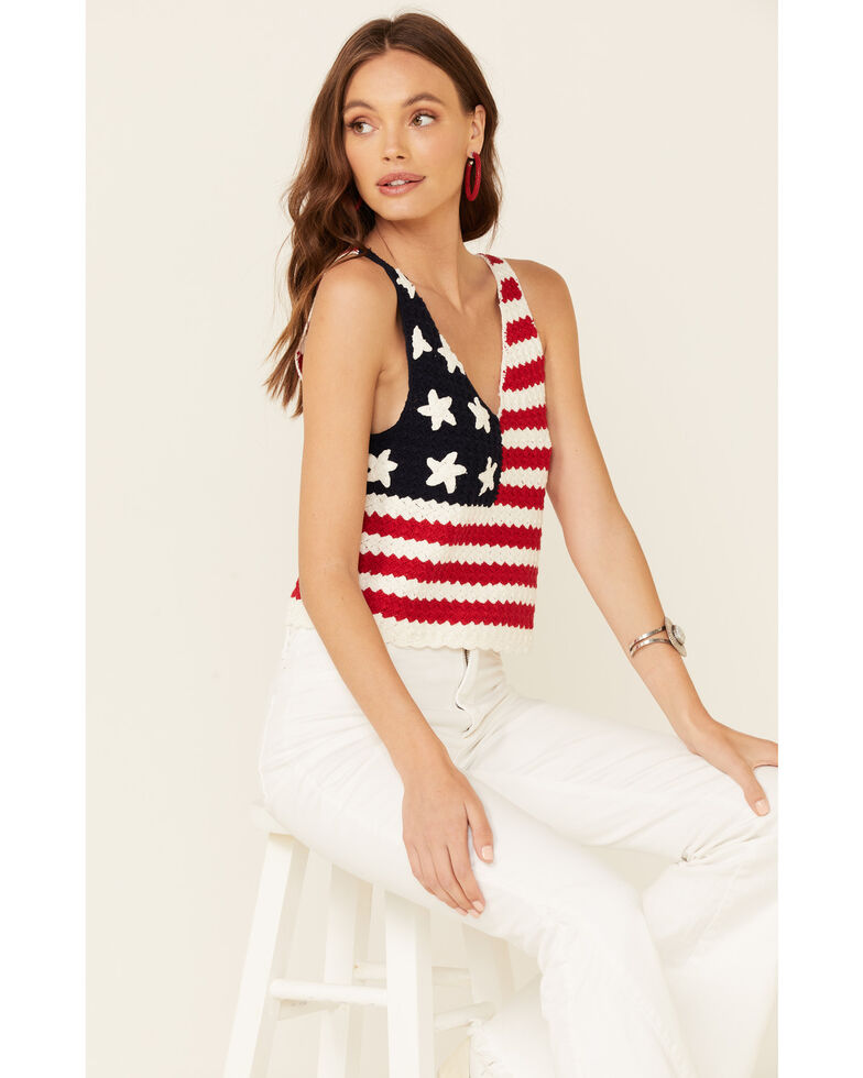 Rock & Roll Cowgirl Women's American Flag Crochet Tank Top, Red/white/blue, hi-res