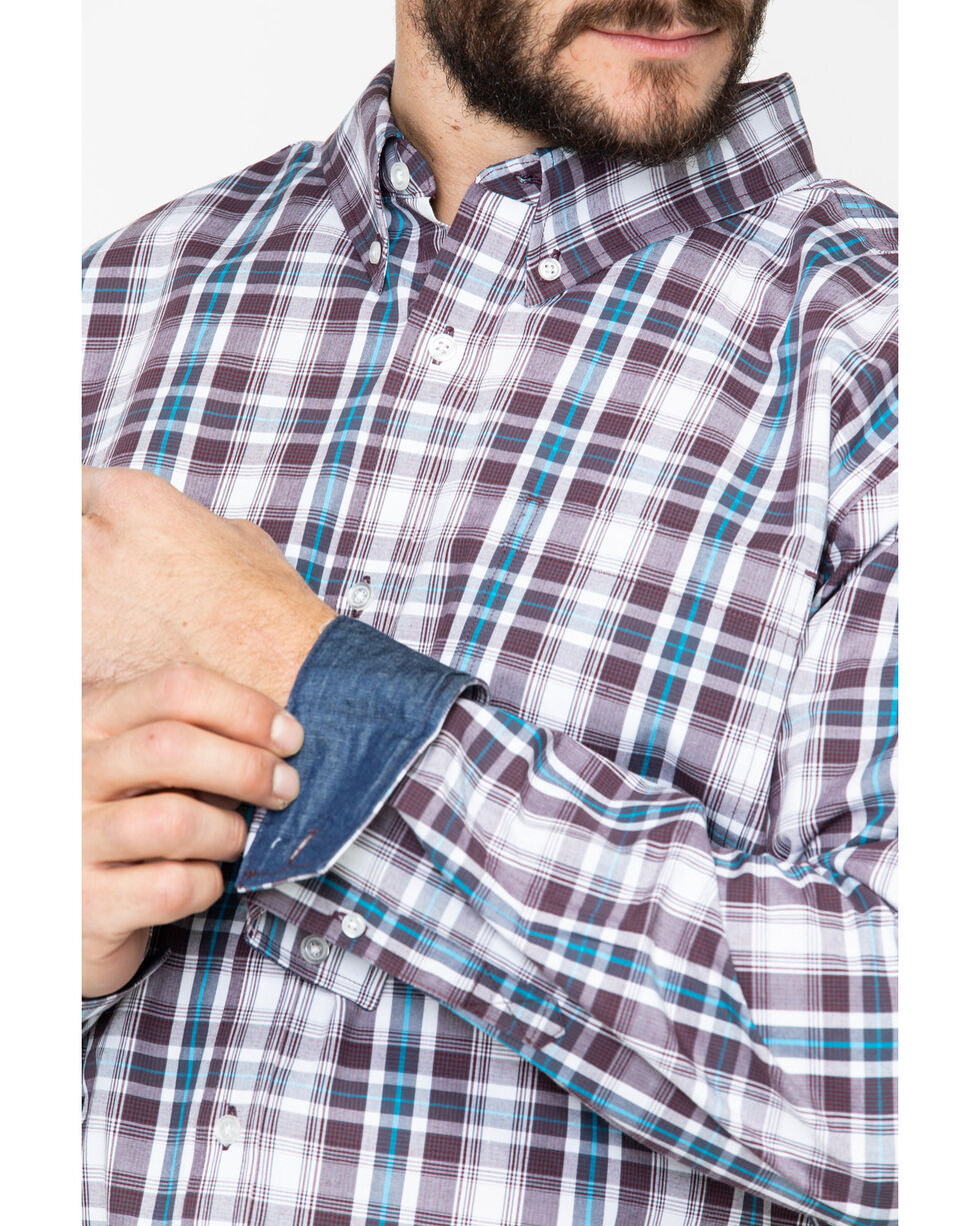 Cody James Core Men's Lincoln Medium Plaid Long Sleeve Western Shirt , White, hi-res