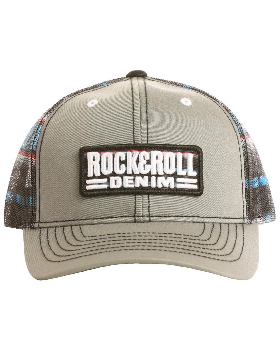 Rock & Roll Denim Men's Patch Plaid Mesh Cap, Grey, hi-res