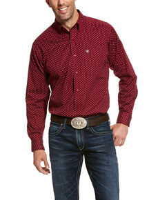 Ariat Men's Urbin Stretch Geo Print Long Sleeve Western Shirt , Burgundy, hi-res