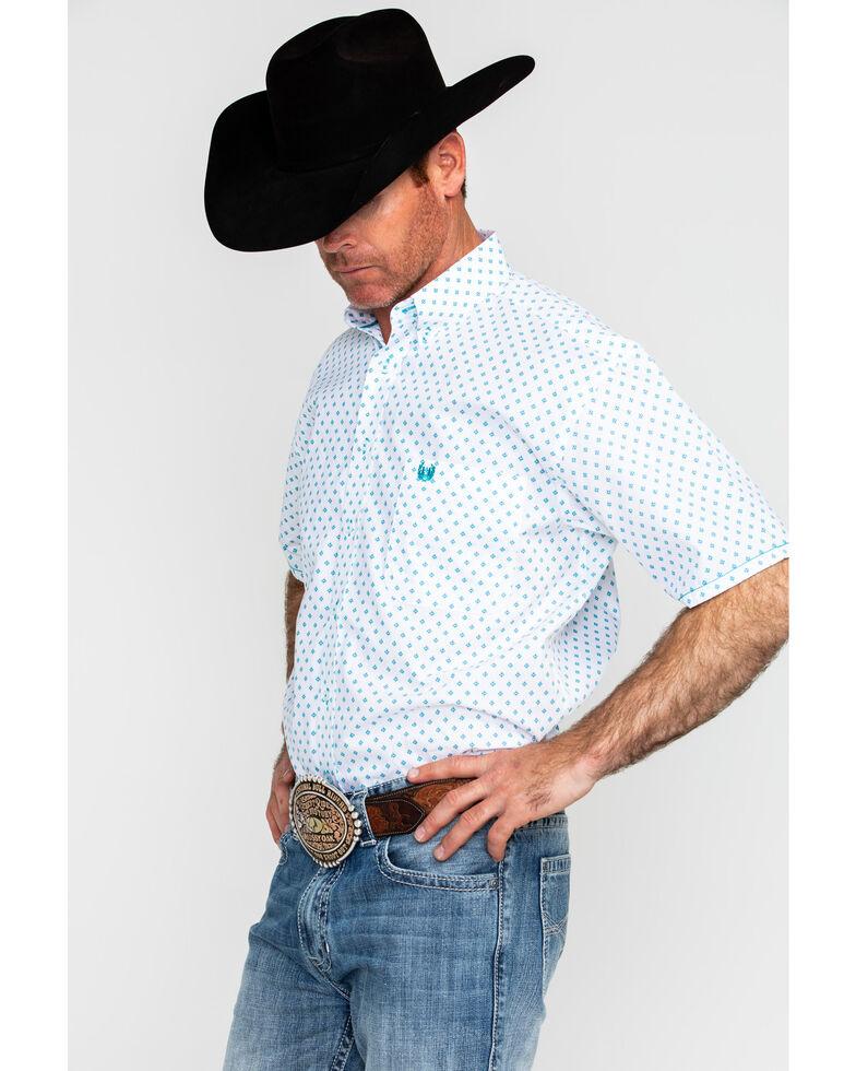 Panhandle Men's Rough Stock Stirrups Vintage Print Short Sleeve Western Shirt , White, hi-res