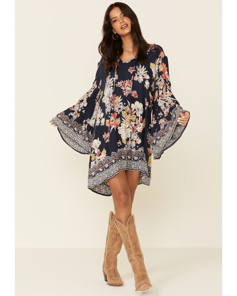 Angie Women's Blue Floral Bell Sleeve Dress, Blue, hi-res
