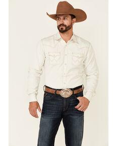 Wrangler Retro Premium Men's Solid White Long Sleeve Snap Western Shirt , White, hi-res