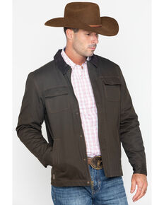 Cody James Core Men's Timberwolf Snap Front Zip-Up Canvas Jacket - Big & Tall , Brown, hi-res