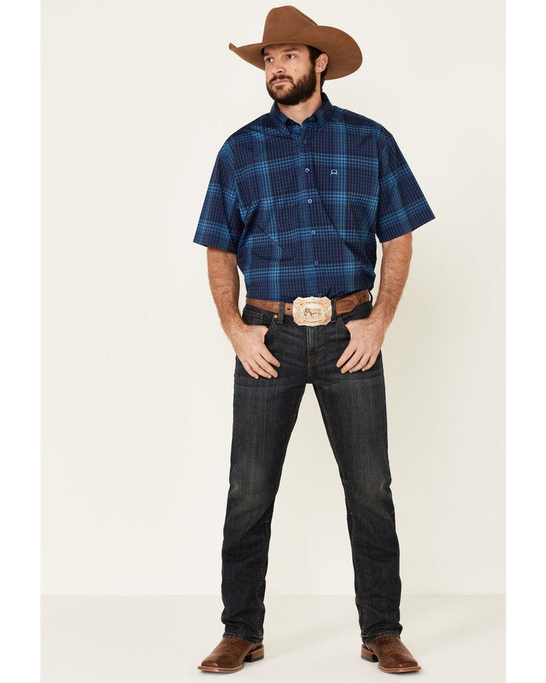 Cinch Men's Blue Large Plaid Short Sleeve Western Shirt , Royal Blue, hi-res