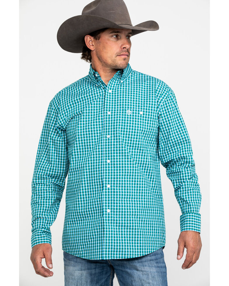 George Strait by Wrangler Men's Evergreen Plaid Long Sleeve Western Shirt , Green, hi-res