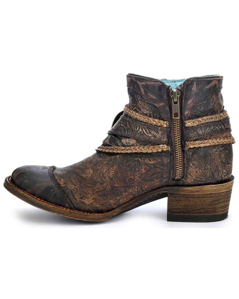 Corral Floral Embossed Booties - Round Toe, Brown, hi-res