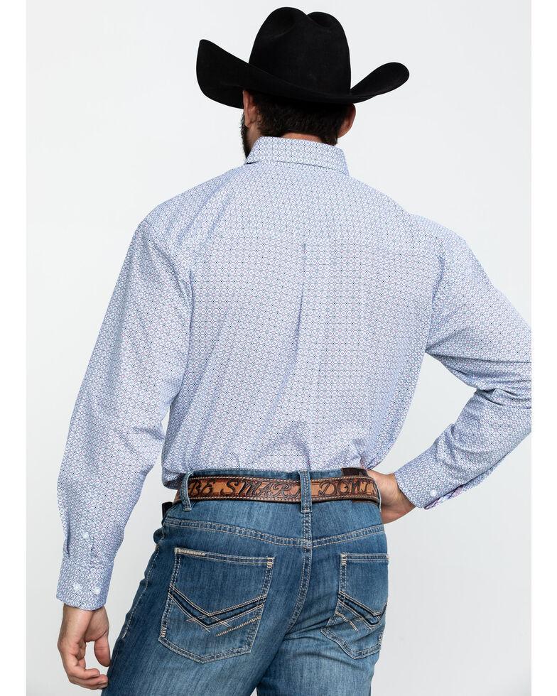 George Strait by Wrangler Men's Navy Small Geo Print Long Sleeve Western Shirt - Tall , Navy, hi-res