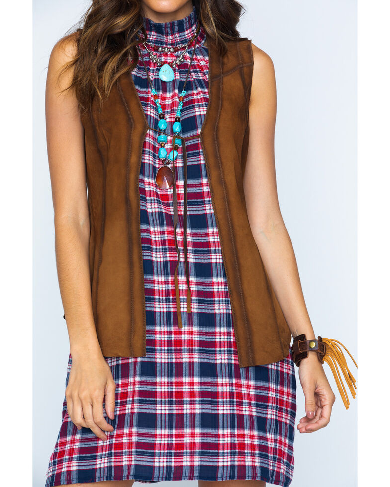 Ryan Michael Women's Brown Tie Front Leather Vest , Brown, hi-res