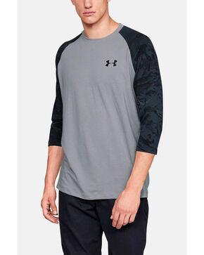 Under Armour Men's Grey Ridge Reaper 3/4 Sleeve Hunting Baseball Shirt , Grey, hi-res