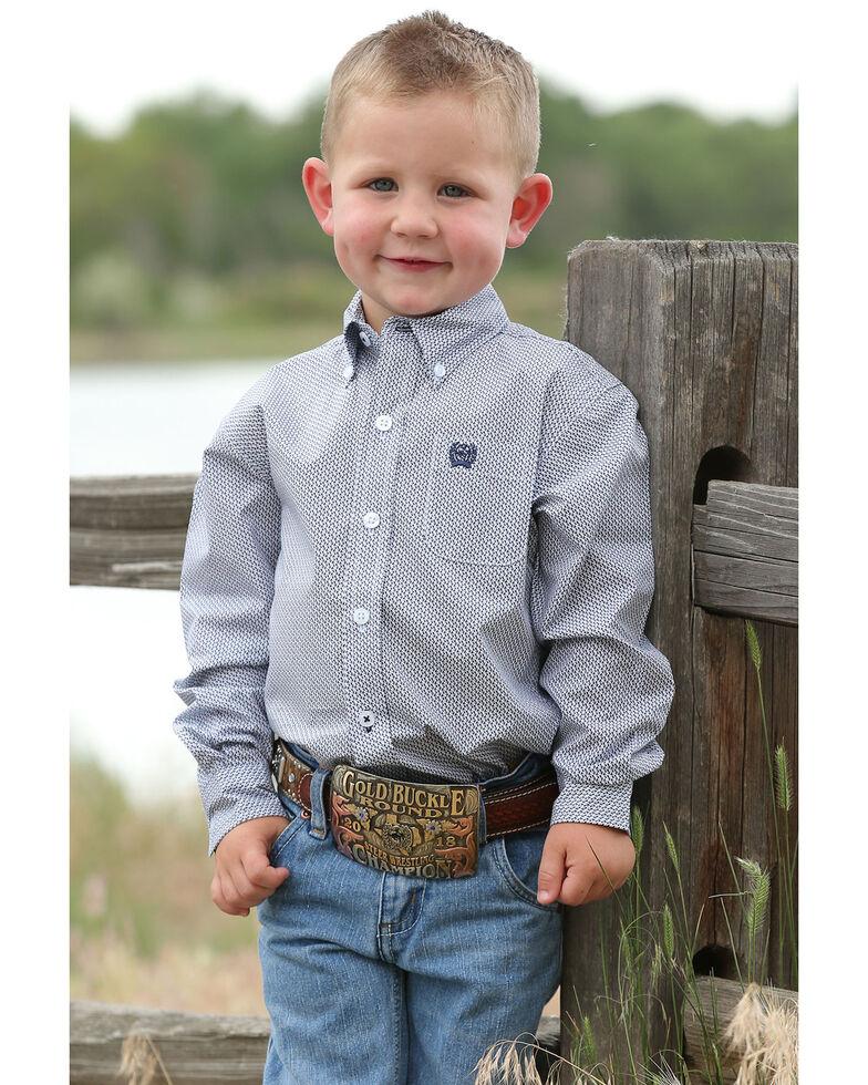 Cinch Toddler Boys' Navy Geo Print Long Sleeve Western Shirt , Navy, hi-res