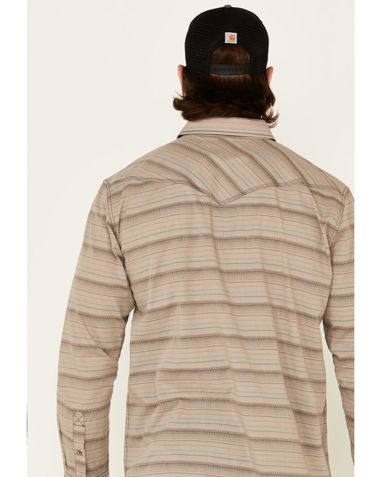 Moonshine Spirit Men's Teepee Aztec Dobby Striped Long Sleeve Western Shirt , Tan, hi-res
