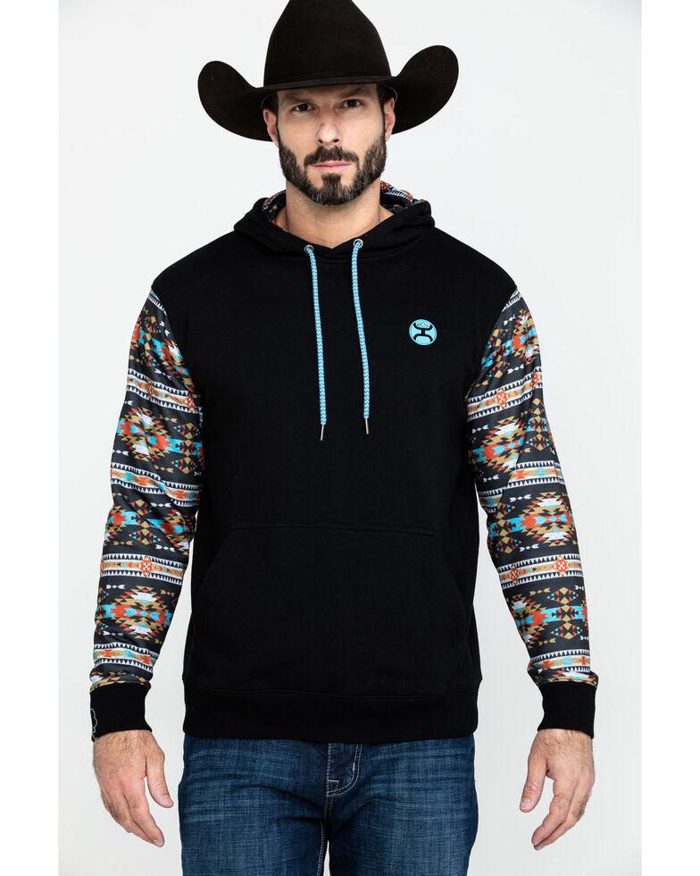 HOOey Men's Black Saguaro Aztec Hooded Sweatshirt, , hi-res