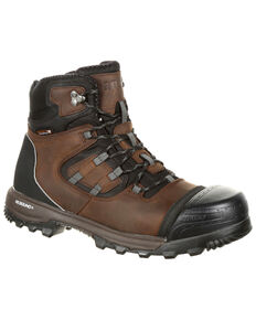 "Rocky Men's XO-Toe Waterproof 5"" Work Boots - Composite Toe, Brown, hi-res"