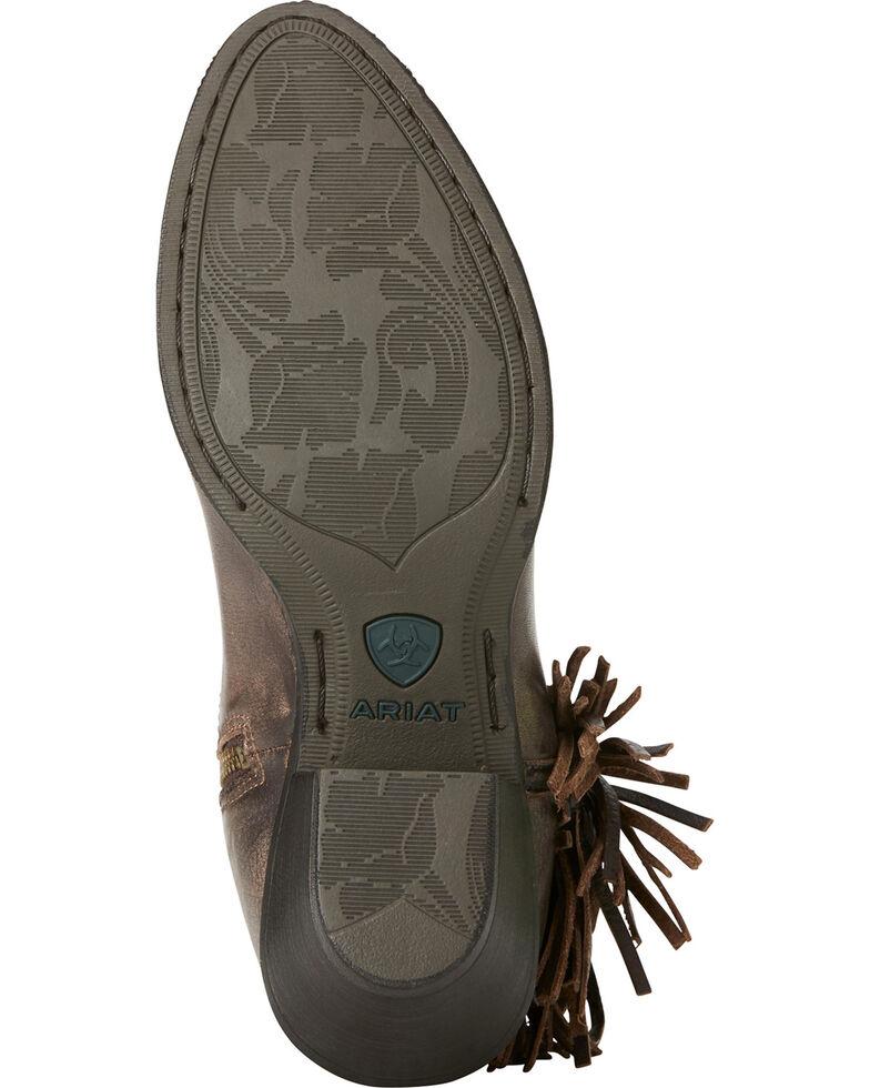 Ariat Women's Chocolate Duchess Braided Fringe Booties - Medium Toe, Chocolate, hi-res