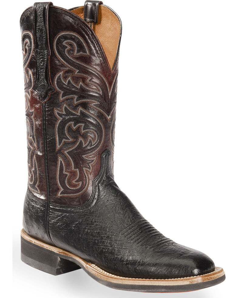 Lucchese Men's Handmade Black Lance Smooth Ostrich Western Boots - Square Toe , Black, hi-res