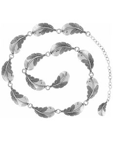 Justin Women's Feather Chain Belt, Silver, hi-res