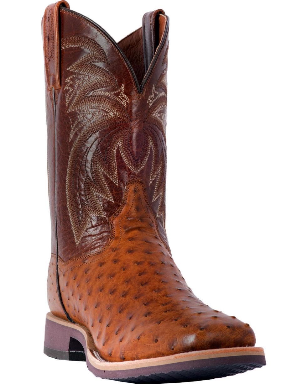 Dan Post Men's Philsgood Brown Full Quill Ostrich Cowboy Boots - Square Toe, Brown, hi-res