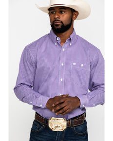 Wrangler Men's Classic Purple Geo Print Long Sleeve Western Shirt , Purple, hi-res