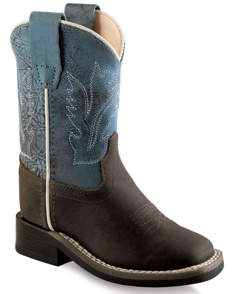 Old West Toddler Boys' Blue Western Boots - Wide Square Toe, Brown, hi-res