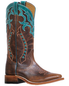 Boulet Women's Arrow Embroidered Western Boots - Wide Square Toe, Dark Brown, hi-res