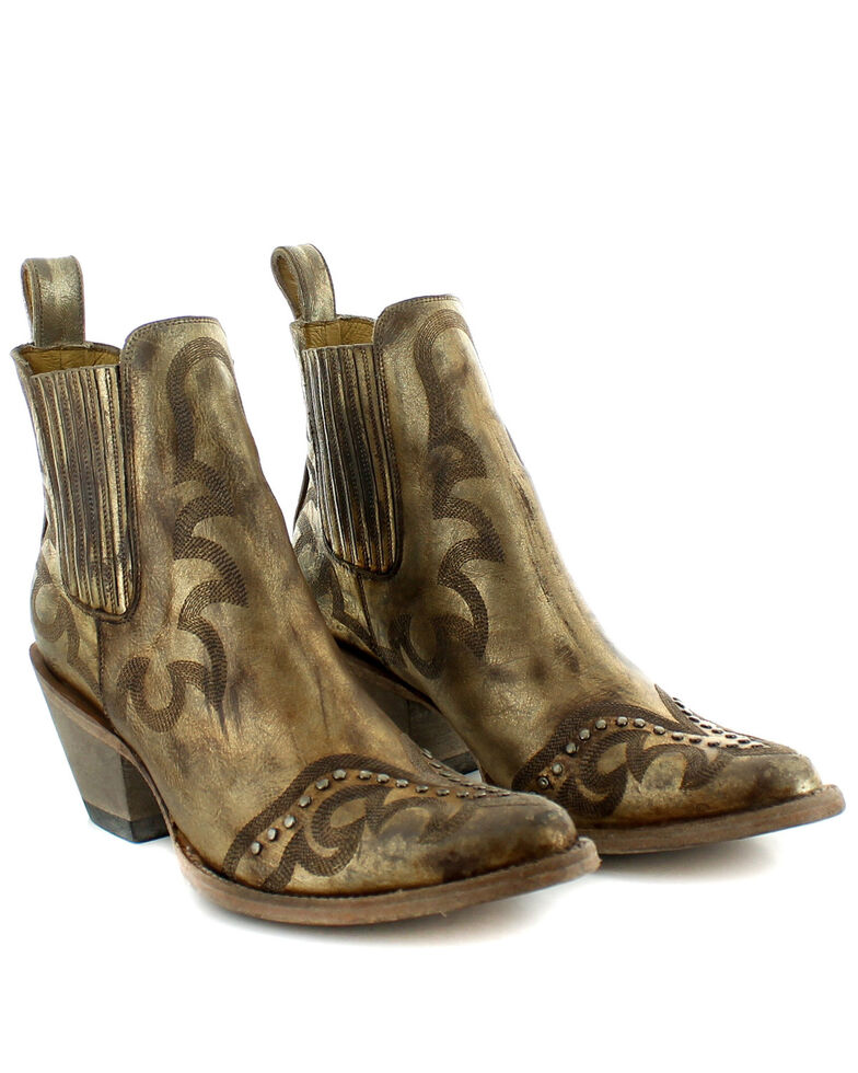 Old Gringo Women's Shay Gold Fashion Booties - Round Toe, Gold, hi-res